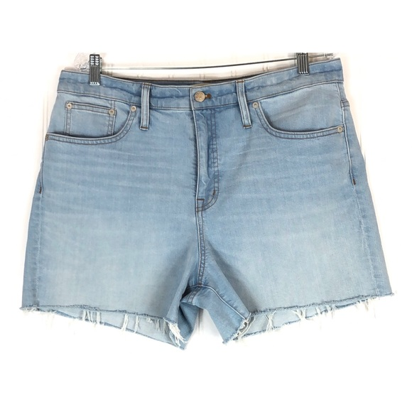 high waisted light blue jean shorts
